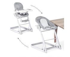 Hauck Sit N Care - 2 en 1 Hamaquita balancín y trona para recién nacidos, respaldo reclinable, chasis ligero de aluminio, con reductor, mesa, ruedas, regulable en altura, plegable, Strech Grey (gris)