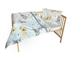 cosing 332 - 019 - 152 Juego de ropa de cama infantil algodón 2 piezas - Oso con bufanda, color beige