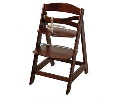 trona roba Sit Up III, utilizable como trona autoajustable para bebé y como silla juvenil, en madera maciza, acabado bicolor en madera natural y blanco.