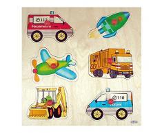 Hess 14897 - Juguete de madera Mango Puzzle (6 piezas), diseño vehículos