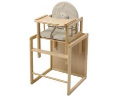 Trona Combi roba, trona con bandeja transformable en silla y mesa independientes, trona infantil en madera natural, asiento tapizado en diseño Lovely Bear