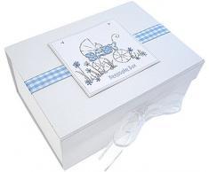 Tarjetas de algodón blanco - Joyero A5 bebé, color: azul