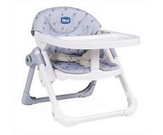 Chicco Chairy - Elevador asiento de silla regulable 4 posiciones, ligero y transportable, 6-36 meses, color gris estampado conejos (Bunny)