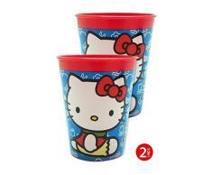 Hello kitty - Set 2 vasos plástico 10x8x5,5