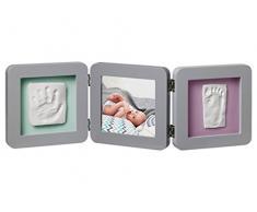 Baby Art My Baby Touch, Marco de fotos 3 cuerpos con kit de impresión para Calco Manos y pies de recién nacido, edición de cobre, negro