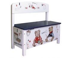 Banco para niños Teddy College, banco -baúl en madera solida y DM lacado con pinturas no toxicas y con termo imprimaciones. Baúl con cierre ralentizado por amortiguador, AxAxP: 58.5x62,5x29cm, altura del asiento: 30cm.