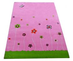 Little Helper IVI - Alfombra hipoalergénica grande y pila gruesa, diseño jardín de verano, 134 x 180 cm, multicolor/rosa