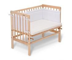 Cuna de colecho Fabimax 2263 con colchón Classic y nido Amelie, natural, blanco