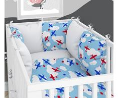 Juego de 3 piezas: ropa de cuna de 90 x 120 cm con sábana bajera y protector de almohada – seis almohadas de terciopelo para la cuna de 60 x 120 cm.