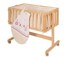 Cuna de colecho roba Room & Craddle, ajustable a la cama de los padres y utilizable como cuna normal, fabricada en madera, lacada en blanco. Incluye vestiduras de la coleccion textil Sunny day.