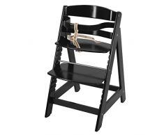 trona roba Sit Up III, utilizable como trona autoajustable para bebé y como silla juvenil, en madera maciza, acabado en negro