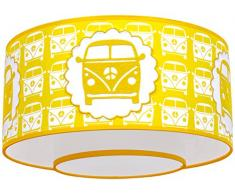 Taftan Fabric – Pantalla de lámpara de techo diseño de furgoneta (35 cm, amarillo)