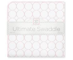 SwaddleDesigns Manta Envolvente Ultimate, Franela de Algodón de calidad superior, Círculos en blanco, Rosa pastel