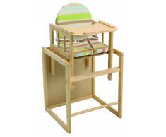 Trona Combi roba, trona con bandeja transformable en silla y mesa independientes, trona infantil en madera natural, asiento tapizado en diseño Babyowls