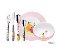 WMF Disney Princesas - Vajilla para niños 6 piezas, incluye plato, cuenco y cubertería (tenedor, cuchillo de mesa, cuchara y cuchara pequeña) (WMF Kids infantil)