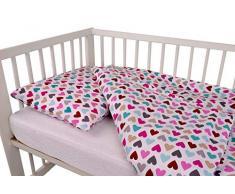Ropa de cama de dos piezas de algodón para cunas de 100% algodón 100 x 135 cm + almohada 40 x 60 con cremallera oculta ropa de cama infantil (corazones)