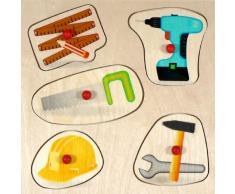 Hess 14886 - Juguete de madera (herramienta puzzle mango, 5 piezas)