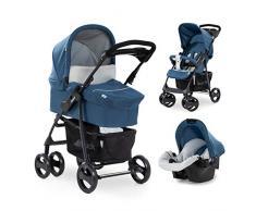 Hauck carro Shopper SLX trioset, coche de bebes 3 piezas de capazo, sillita y grupo 0+, botellero, facil y comodo plegado, para recien nacidos hasta bebes/niños de 25 kg, azul