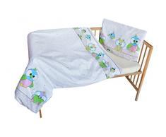 cosing 332 - 019 - 158 Juego de ropa de cama infantil algodón 2 piezas - búhos, Gris