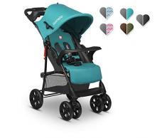 Lionelo Emma Plus - Carrito de bebé ligero y moderno, pequeño, con posición reclinada, plegable (Vivid Turquoise)