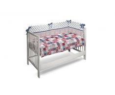 Petit Lazzari Boston - Set de colcha - edredón y protector para cuna de 60 x 120 cm, diseño Trend, color azul