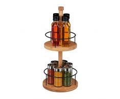 Relaxdays Especiero de bambú, Redondo, Dos estantes, Seis Botes para Especias, Marrón, 40 x 17,5 cm