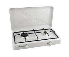MEZIERES - Calefactor de gas butano para camping, rejilla de acero esmaltado, color blanco