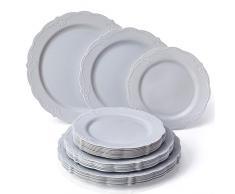 VAJILLA PARA FIESTAS DESECHABLE DE 30 PIEZAS | 10 platos grandes | 10 platos para ensalada | 10 platos para postre | Platos de plástico resistente | Para bodas y comidas de lujo (Vintage – Gris)