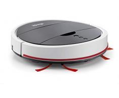 Vileda VR 102 - Robot aspirador de gran autonomía (1h 30 de limpieza continua), para barrer y aspirar en todo tipo de suelos duros y alfombras de pelo corto, 3 modos de limpieza, color blanco y negro