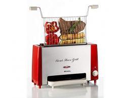 Ariete 730 Grill eléctrico, cocción vertical, redue grasas y el humo, temporizador ajustable 30 min, grill extraíble y lavable, bandeja antigoteo, 1.300 W, rojo