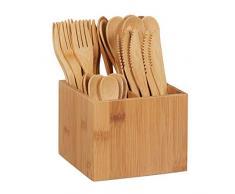 Relaxdays Set de cubertería de bambú, 10x Cuchillo, Tenedor, Cuchara, Cucharilla, Soporte de madera, Reutilizable, Marrón