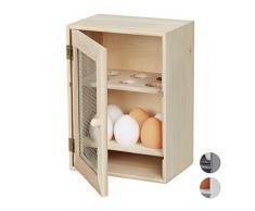 Relaxdays Huevera Rústica, Armario 12 Huevos, Huevero Cocina, Bandeja, 1 Ud, Madera y Metal, 25 x 18 x 12 cm