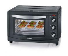 SEVERIN TO 9560 Tostador, Incl. Piedra para Pizza, Rejilla Grill y Bandeja de Horno, 1.500 W, 20 L, 1500 W, Chapa de Acero, Plateado/Negro