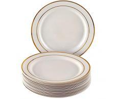 VAJILLA PARA FIESTAS DESECHABLE DE 20 PIEZAS | 20 platos auxiliares| Platos de plástico resistente | Elegante aspecto de porcelana fina | Para bodas y comidas de lujo (Marfil/Borde dorado| 26 cm)