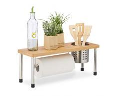 Relaxdays Organizador de cocina, Soporte para cubiertos, Especiero, Portarrollos, Bambú & Acero, Marrón & Plateado, plata