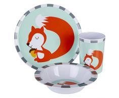 Premier Housewares 1206333 Mimo Kids Susie - Vajilla infantil (melamina), diseño de ardilla