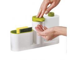 kabinga 10 Esponja para Lavar Platos Estante de Almacenamiento Suministros de Cocina Fregadero multifunción detergente dispensador Botella de jabón de Manos. Verd, Blend