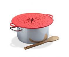 Relaxdays Tapa Antisalpicaduras, Vaporera Silicona, Salvamanteles para Ollas, Resistente al Calor, 30 cm, Rojo