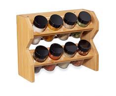 Relaxdays 10028824 Estantería (8 botes de especias con accesorio de esparcidor y tapón de rosca, para colgar y colocar en la base, bambú), Negro
