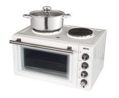 Silva-Homeline KK 2900 - Cocina pequeña con recirculación de aire y función grill, gran capacidad de 30 litros, 3 estantes, incluye parrilla, bandeja para pizza y pincho giratorio 3300, color blanco