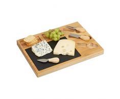 Relaxdays - 10022234 Set Tabla de queso Quesera Divide de bambú, 3 Queso Cuchillo, de pizarra, hxbxt: 3 x 40 x 30 cm, color natural