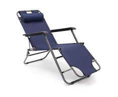 Tumbona plegable Relaxdays, 35 x 60,5 x 153 cm tumbona de jardín de 3 posiciones con funda de poliéster y reposabrazos, tumbona plegable con reposacabezas extraíble como silla de camping, color azul oscuro