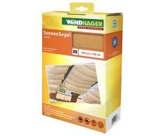 Windhager Toldo Vela de protección Solar tecnología de tensado de Cables, 420 x 140 cm, Ideal para pérgola o Invernadero, Arena, 10878