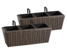 Weles GMBH Jardinera para balcón de polyrattan Incluye suspensión y 3 Insertos plásticos, Capuchino, 2 Piezas, 47 x 17 x 15 cm