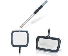 Gre Gama Graphite - Mango Telescópico de Aluminio para Piscina + Red Recogehojas para Superficie de Piscina + Red Recogehojas para Fondo de Piscina