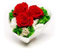 Rosen-te-amo - Rosas Rojas duraderas, Ramo de Flores en jarrón con Forma de corazón - El Regalo para el día de la Madre