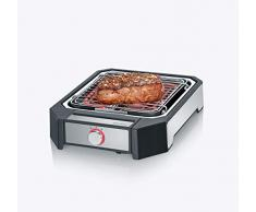 Severin PG 8545 Steakboard Barbacoa de Alto Rendimiento, 2 ajustes de Potencia, 2300 W, Acero Inoxidable Cepillado, Negro