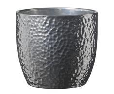 soendgen cerámica flores Maceta, Boston metálico, plata, Arcilla, plata, 27 x 27 x 26 cm