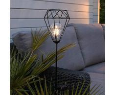 Festive Lights - Estaca de jardín con Luces LED (Funciona con energía Solar), Color Negro