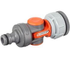 Gardena 998-50 Conector articulado para Grifo de 21 mm (1/2) con Rosca de 26,5 mm (3/4). A Granel Gris, Naranja, Plata Pistola de Limpieza Comfort